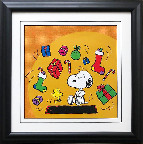 "Charles Schulz Peanuts ""Snoopy & Woodstock Christmas"" NEW CUSTOM FRAMED ART"