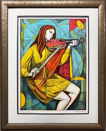 "Irving Amen ""Violin"" FRAMED Hand Signed Limited Edition Litho"