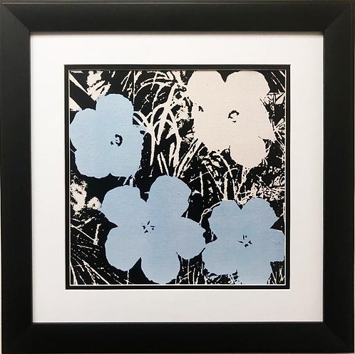 "Andy Warhol ""Flowers"" (Blue & Ivory) CUSTOM FRAMED Pop Art"