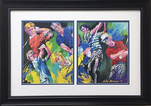 "LeRoy Neiman ""Golf Winners"" Custom FRAMED Art Print Arnold Palmer Jack Nicklaus"