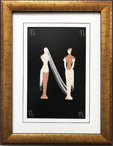 """Erte """"N"""" CUSTOM FRAMED Vintage Print Art Deco Alphabet Letter Suite"""
