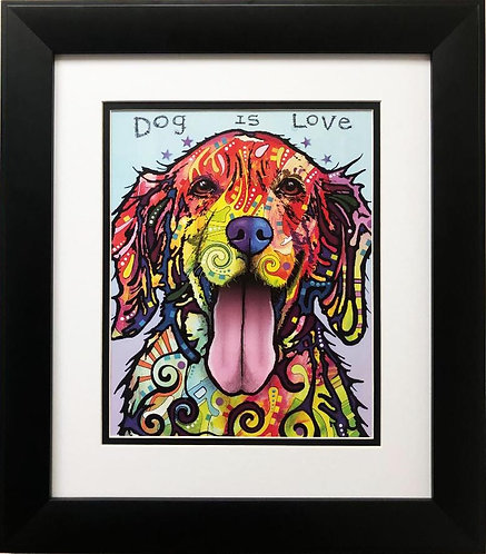 "Dean Russo ""Dog is Love"" FRAMED Pop Art"