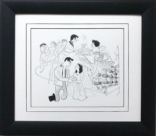 "Al Hirschfeld ""West Side Story"" CUSTOM FRAMED Decorative ART Print"