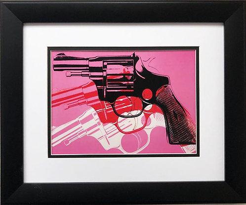 "Andy Warhol ""Gun '81-82"" (Black, white, red, on pink) CUSTOM FRAMED Pop Art"