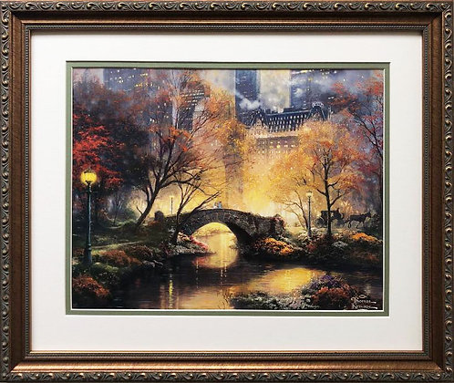 "Thomas Kinkade ""Central Park in the Fall"" New FRAMED Art Print"