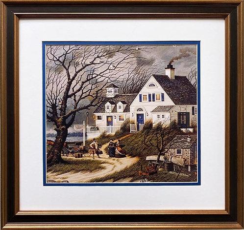 "Charles Wysocki ""Checking in on Olde Martha's Vineyard"" New CUSTOM FRAMED Art"