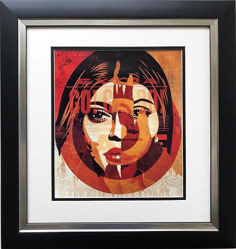 """Shepard Fairey """"Media Target"""" CUSTOM FRAMED Art Print"""