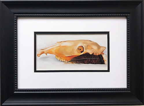 "Georgia O'Keeffe ""Horizontal Skull with Feathers"" Art Print Custom Framed New"