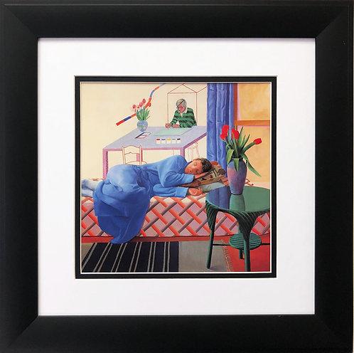"""David Hockney """"Model with Unfinished Self Portrait"""""""