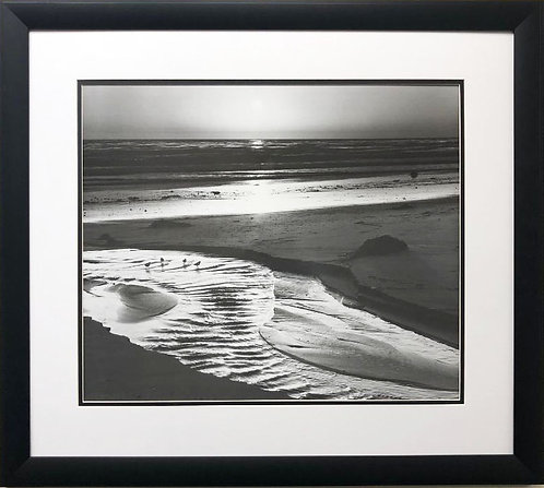 "Ansel Adams ""Birds on a Beach"" (large) Custom Framed NEW ART"