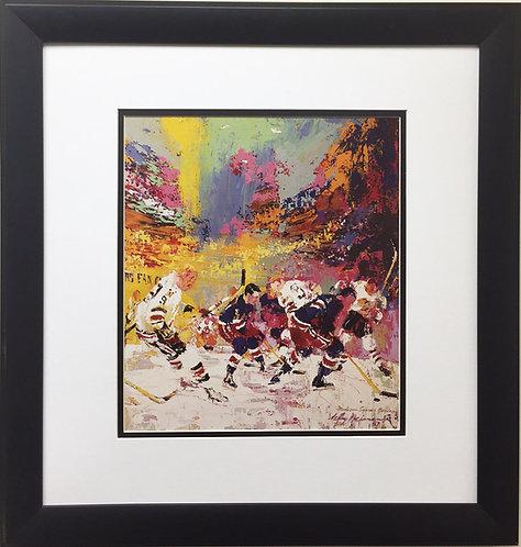 """LeRoy Neiman """"Rangers & Blackhawks 1967"""" CUSTOM FRAMED Art Print MSG NY Chicago"""