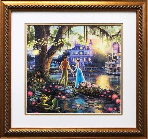 "Thomas Kinkade ""Princess and the Frog "" New CUSTOM FRAMED Art"