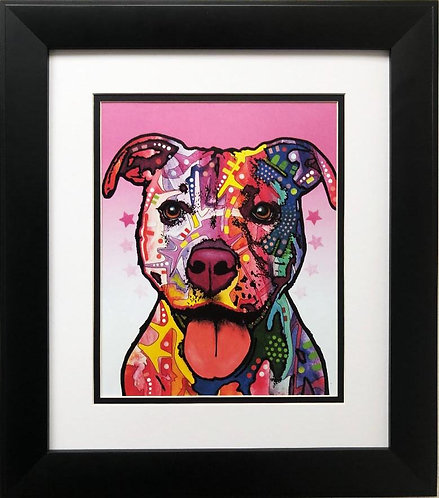 "Dean Russo ""Cherish the Pitbull"" FRAMED Pop Art"