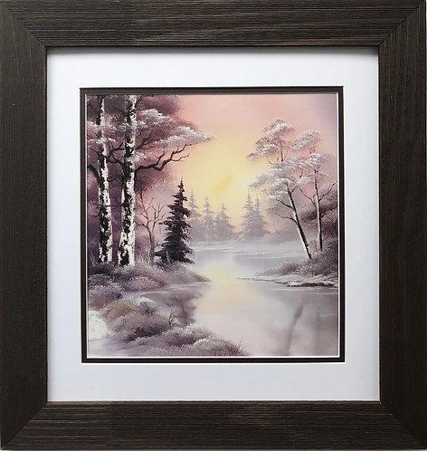 "Bob Ross ""Winter Glow"" Happy Trees CUSTOM FRAMED ART Nature Snow Scene Print"