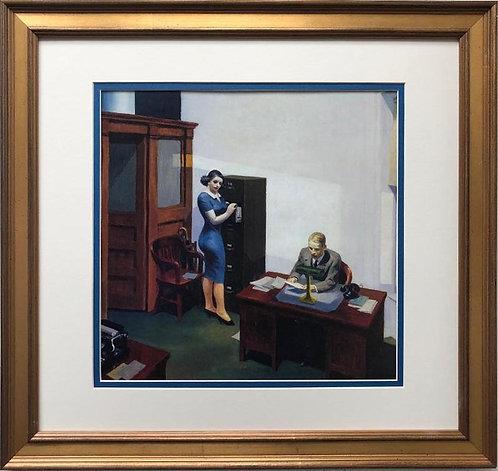 """Edward Hopper """"Office at Night"""" (Detail) New CUSTOM FRAMED Art"""