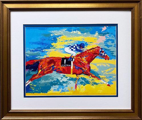 "LeRoy Neiman ""Secretariat with Ron Turcotte"" CUSTOM FRAMED Art Print"
