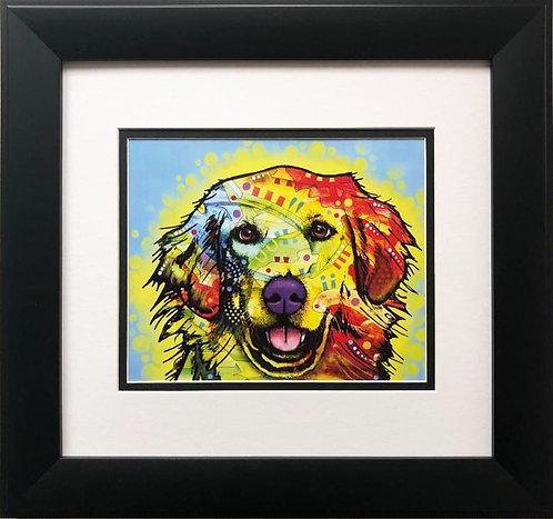 """Dean Russo """"Golden Retriever"""" FRAMED Street Pop Art"""