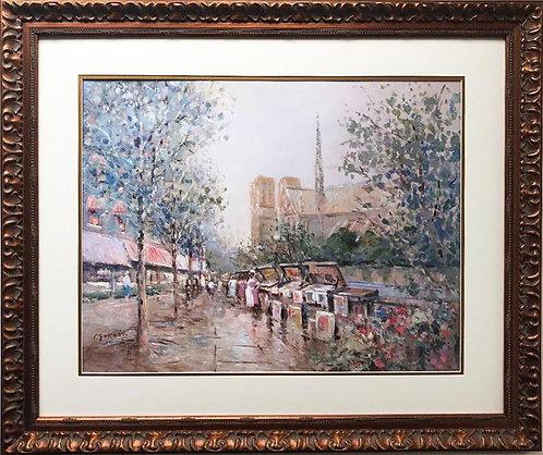 "L. Gordon ""Notre Dame de Paris"" Framed Art Hand Signed w/ COA"