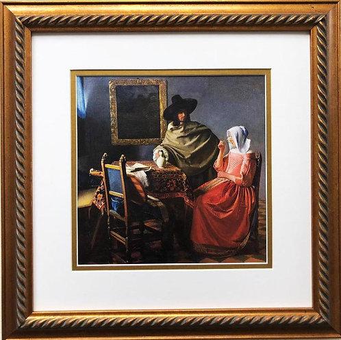 """Johannes Vermeer The Glass of Wine"""" Framed Art Print"""