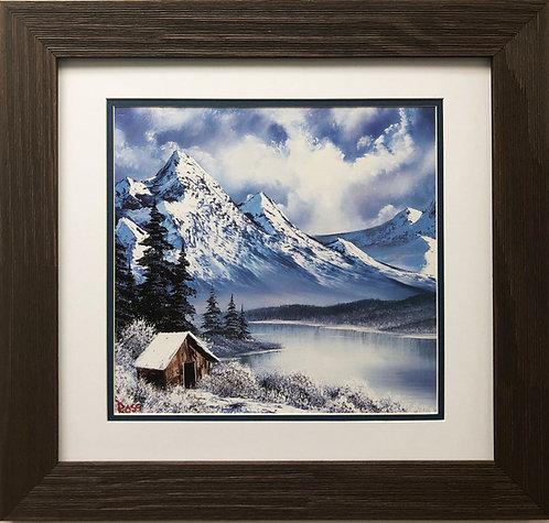 "Bob Ross ""Winter Wilderness"" Happy Trees CUSTOM FRAMED ART Nature Print Mountain"