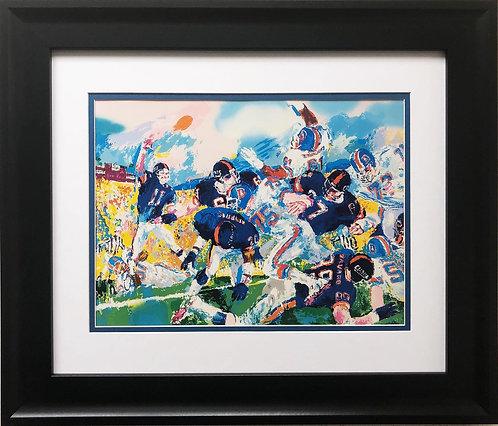 """LeRoy Neiman """"Giants vs. Broncos"""" CUSTOM FRAMED ART"""