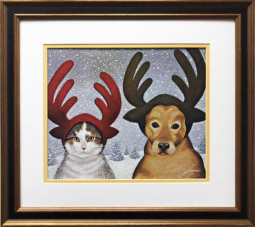"Lowell Herrero ""Winter Dress Up"" New FRAMED Americana Art"
