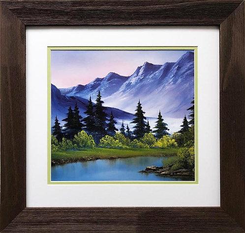 """Bob Ross """"Royal Mountains"""" CUSTOM FRAMED ART"""