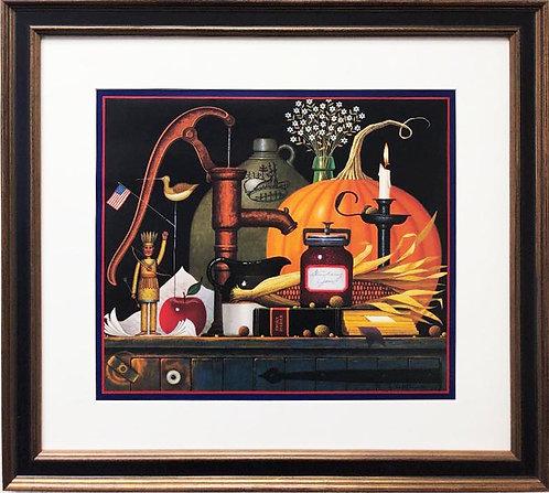 "Charles Wysocki's  ""Pump, Pumpkin and a Prayer"" New CUSTOM FRAMED Art"