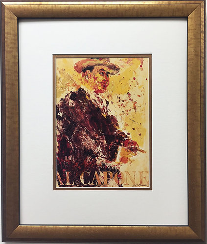 "LeRoy Neiman ""Al Capone"" Newly Custom FRAMED ART PRINT Chicago Mobster Gangster"