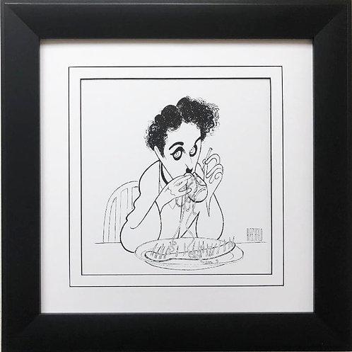 "Al Hirschfeld ""Chaplin- The Gold Rush ""  CUSTOM FRAMED Decorative ART Print"