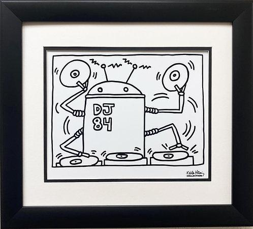 "Keith Haring ""DJ84, 1983"" CUSTOM FRAMED Print"