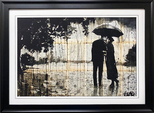 """Loui Jover """"Rainy Day Rendevous"""" CUSTOM FRAMED Art"""