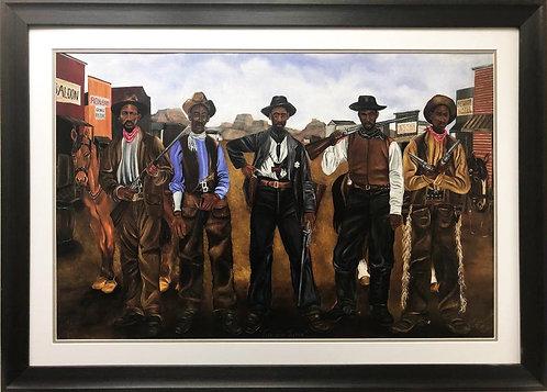 "Dwight Ward ""Five Gun Justice"" Cowboys Signed & # FRAMED African American Art"