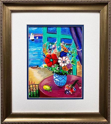 "Shlomo Alter ""Flowers in a Vase"" Framed Hand Signed & # Serigraph Art"
