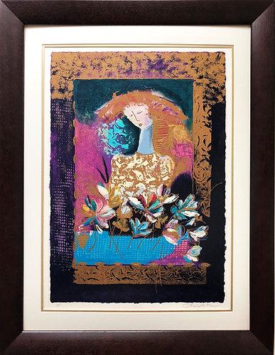 "Lee White ""Figure in Flowered Window"""