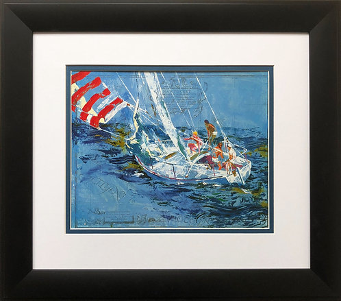 "LeRoy Neiman ""Nantucket Sailing""   NEW Art Print Ocean Boating Races Wind 1980"