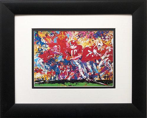 "LeRoy Neiman""Alabama Handoff '74 '""  NEW Custom Framed Art Crimson Tide Football"