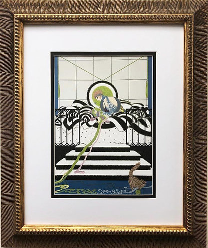 "Erte ""Paresseuse"" (Lazy Girl) CUSTOM FRAMED Print"