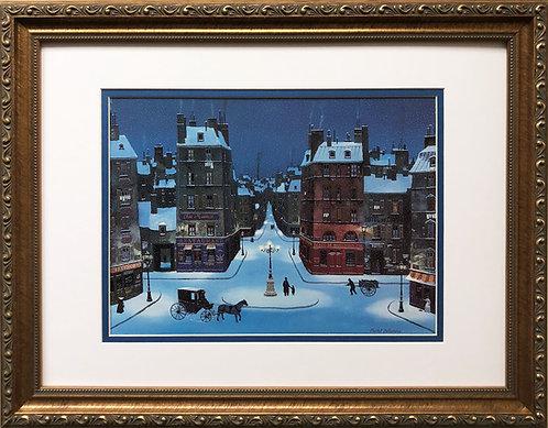 """Michel Delacroix """"Nuit de Decembre""""  CUSTOM FRAMED Primitive Art  Paris France"""