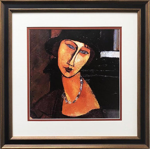 "Amedeo Modigliani ""Jeanne Hebuternet with Hat and Necklace"" FRAMED ART"