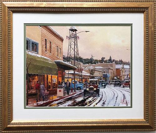 """Thomas Kinkade """"Main Street Matinee"""" New CUSTOM FRAMED Art"""