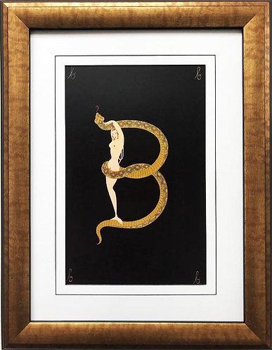 """Erte """"B"""" CUSTOM FRAMED Vintage Print Art Deco Alphabet Letter Suite"""