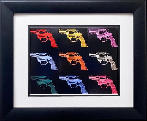 """Andy Warhol """"Gun"""" (many rainbows) CUSTOM FRAMED Pop Art"""