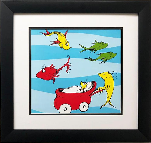 """Dr. Seuss """"One Fish, Two Fish, Red Fish, Blue Fish"""" NEW FRAMED ART"""