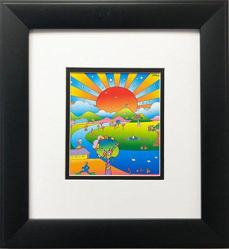 "Peter Max ""Sustain Comm World '08"" NEWLY CUSTOM FRAMED Pop Art Poster"
