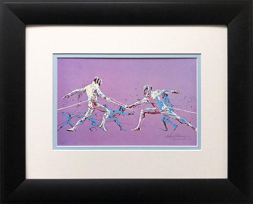 """LeRoy Neiman """"Olympic Fencers '72""""   Munich Sports Art Fencing"""