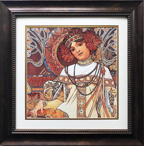 "Alphonse Mucha ""The Seasons: Autumn"" 1900 (detail) CUSTOM FRAMED ART"
