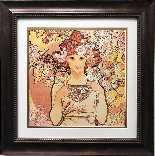 "Alphonse Mucha ""The Flowers: Rose"" 1898 (detail) CUSTOM FRAMED ART"
