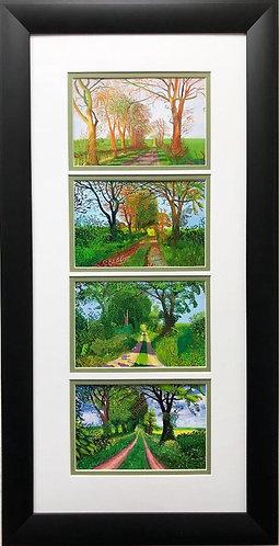 """David Hockney """"Four Seasons Tree Tunnels"""" Custom Framed Art"""