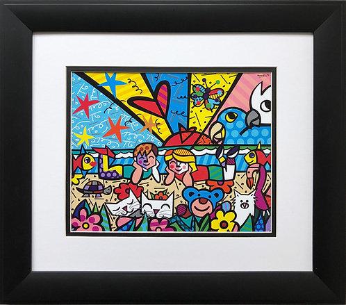 "Romero Britto ""In The Park"" NEWLY CUSTOM FRAMED Art Print - POP cubism Brizilian"